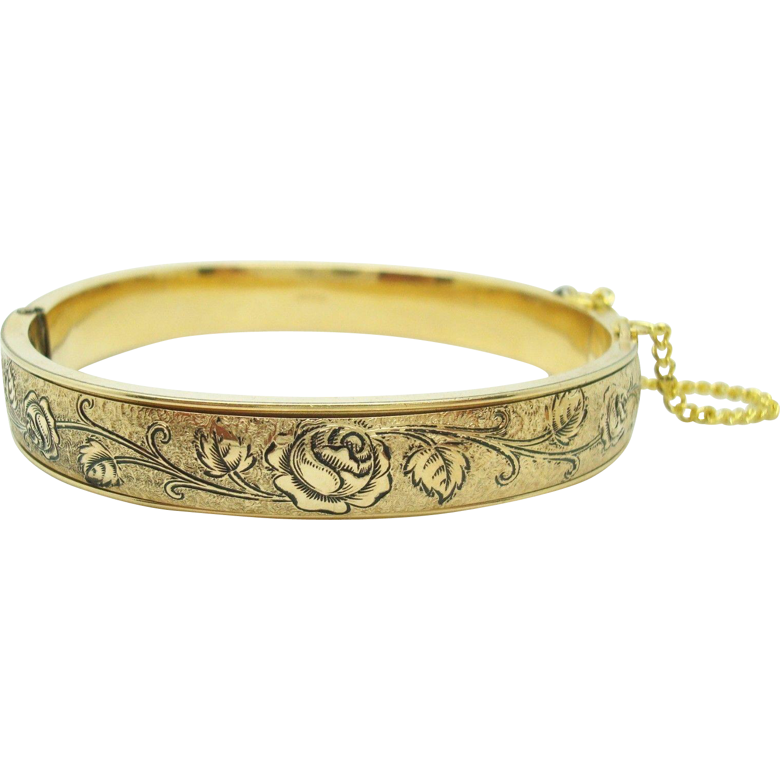 Yellow Gold Filled Bangle Bracelet with Enamel Flower