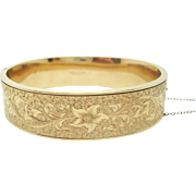 Dunn Bros Bangle Bracelet with Etched Flowers