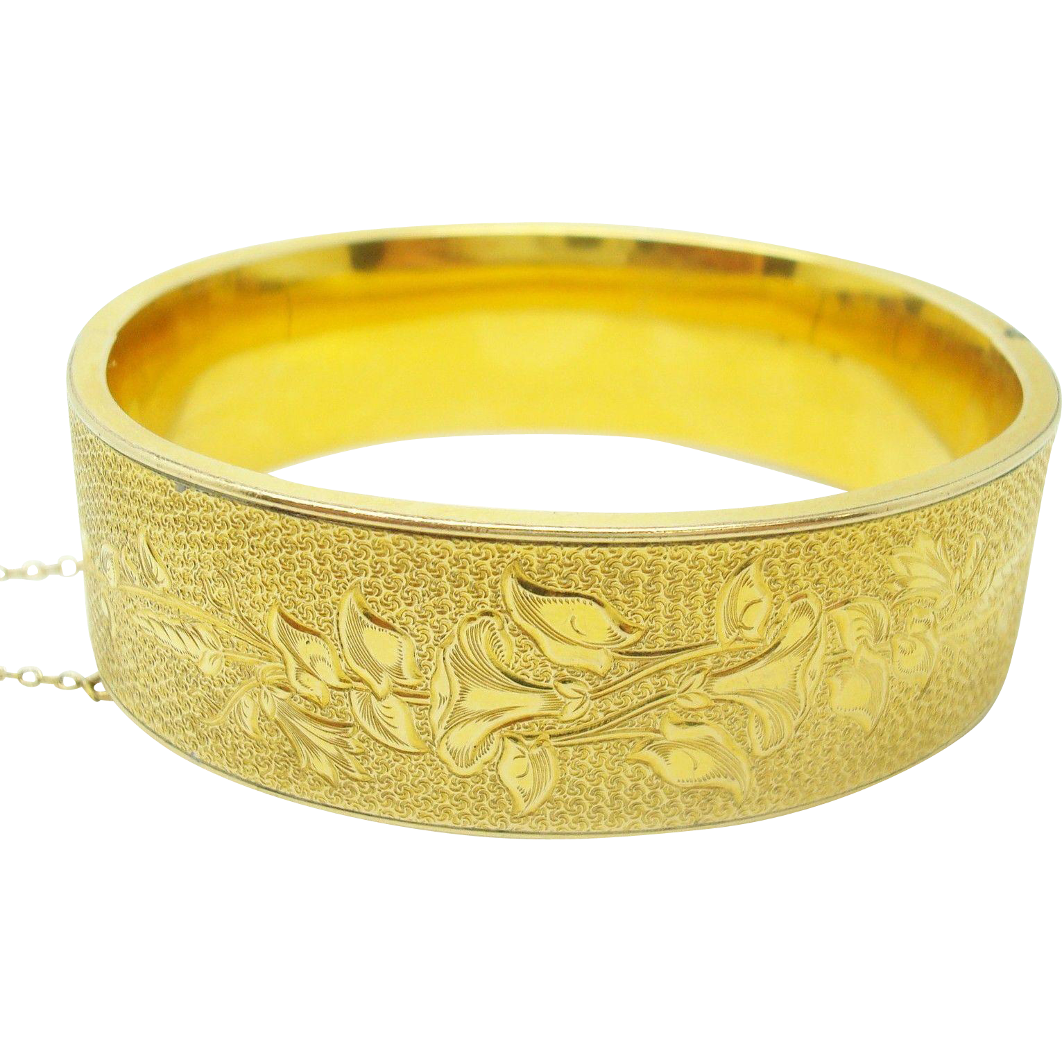 Yellow Gold Bangle Bracelet with Etched Flowers