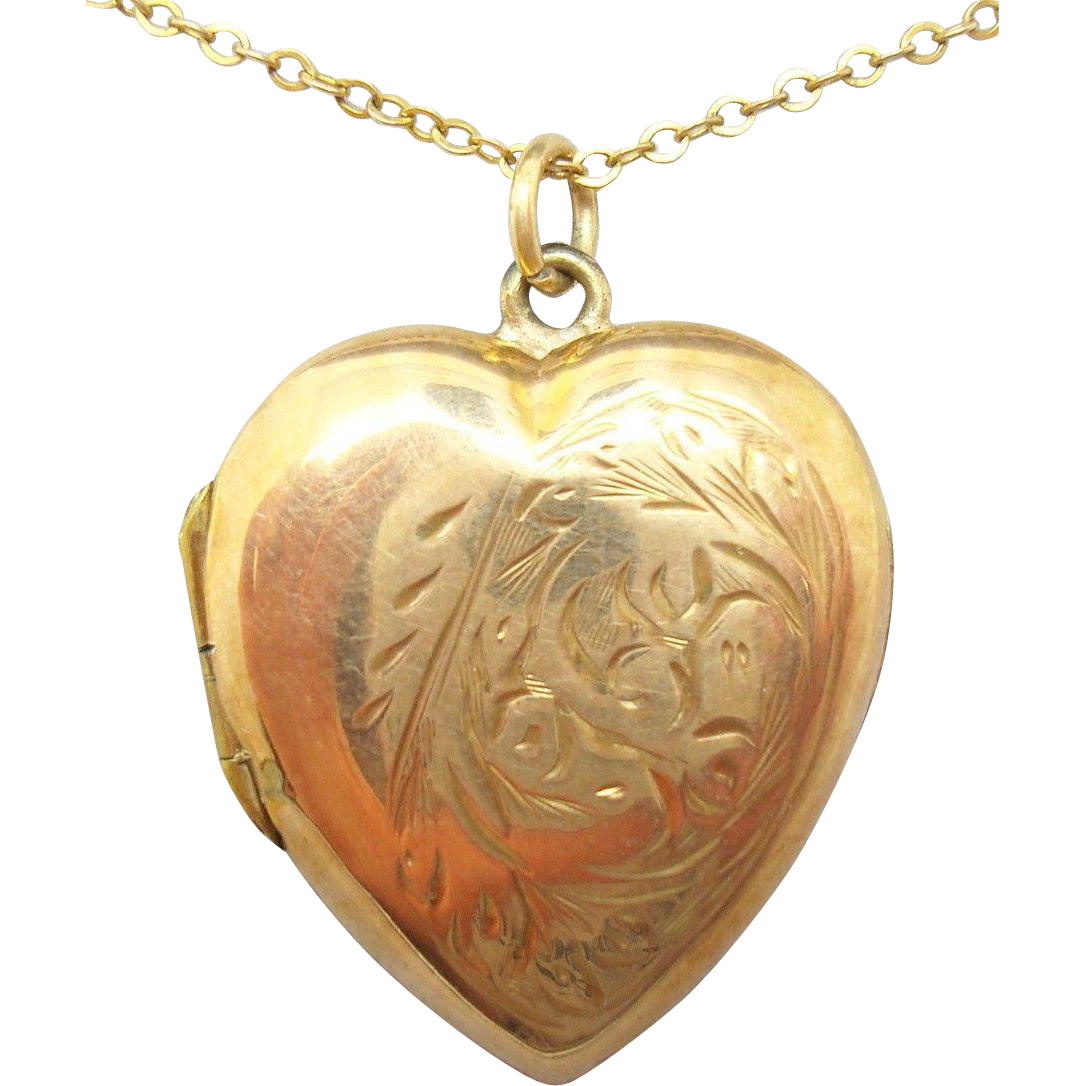 9 Karat Rose Gold Heart Locket with Etched Design