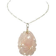 Art Deco Rose Quartz Necklace with Paperclip Chain