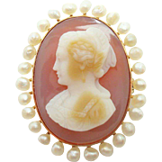 Rose Gold Hard Stone Cameo and Pearl Brooch