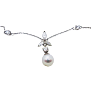14 Karat White Gold Necklace & Earring Set with Pearls & Diamonds