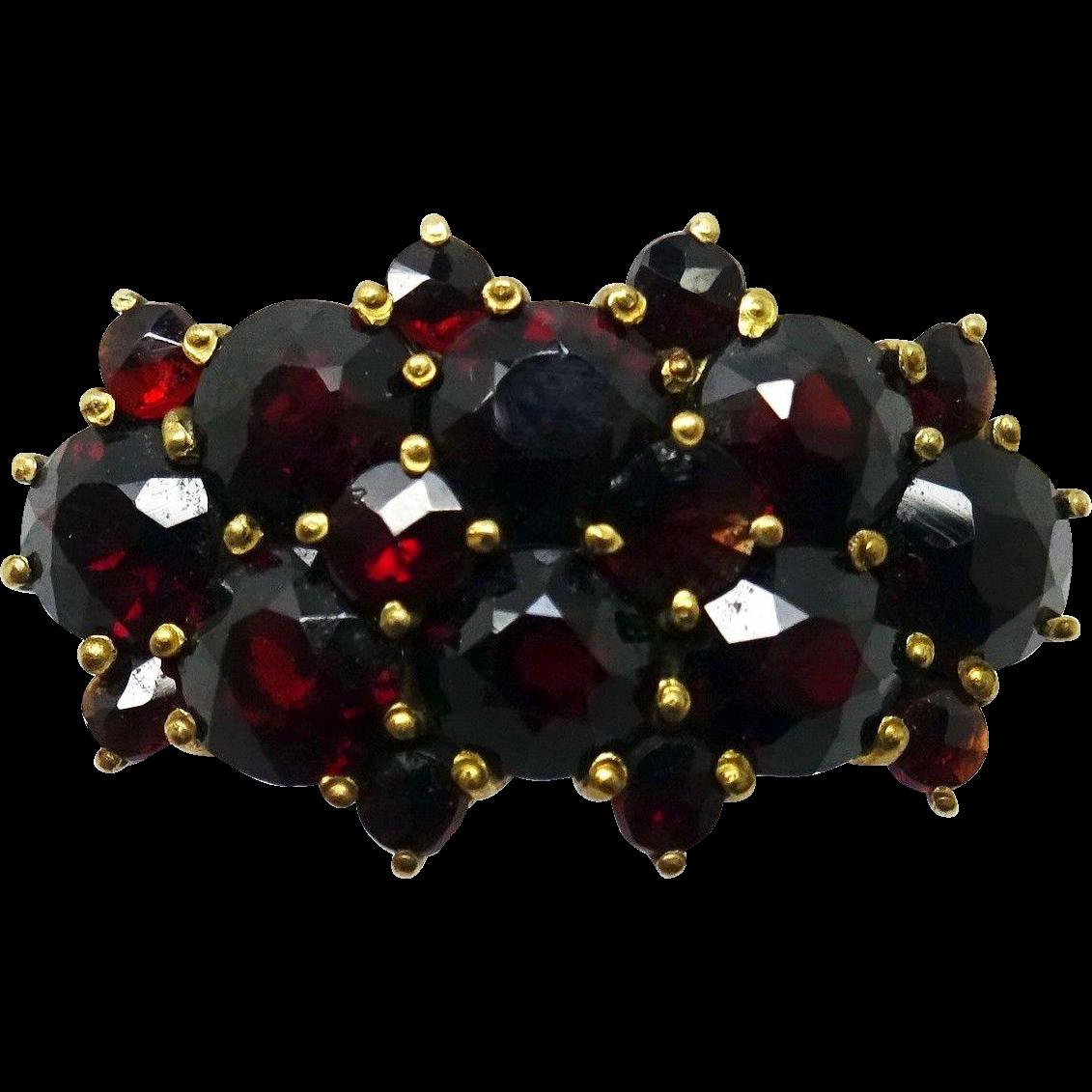 14 Karat Yellow Gold Genuine Natural Bohemian Garnet Ring