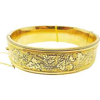 Yellow Gold Filled Bangle Bracelet with Grape Vines