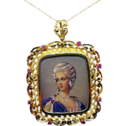 18 Karat Large Hand Painted Pendant / Pin with 14 Karat Chain