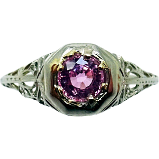 18 Karat Gold Filigree .51 Carat Pink Genuine Natural Sapphire Ring