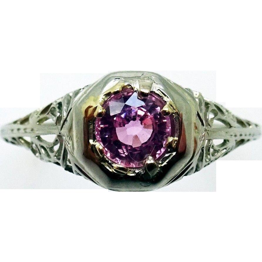 18 Karat Gold Filigree .51 Carat Pink Genuine Natural Sapphire Ring