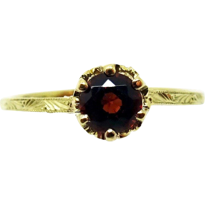 10 Karat Yellow Gold .50 Carat Genuine Natural Garnet Ring