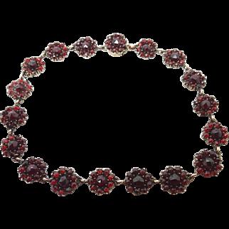 Genuine Natural Bohemian Garnet Bracelet with Rose Cut Garnets