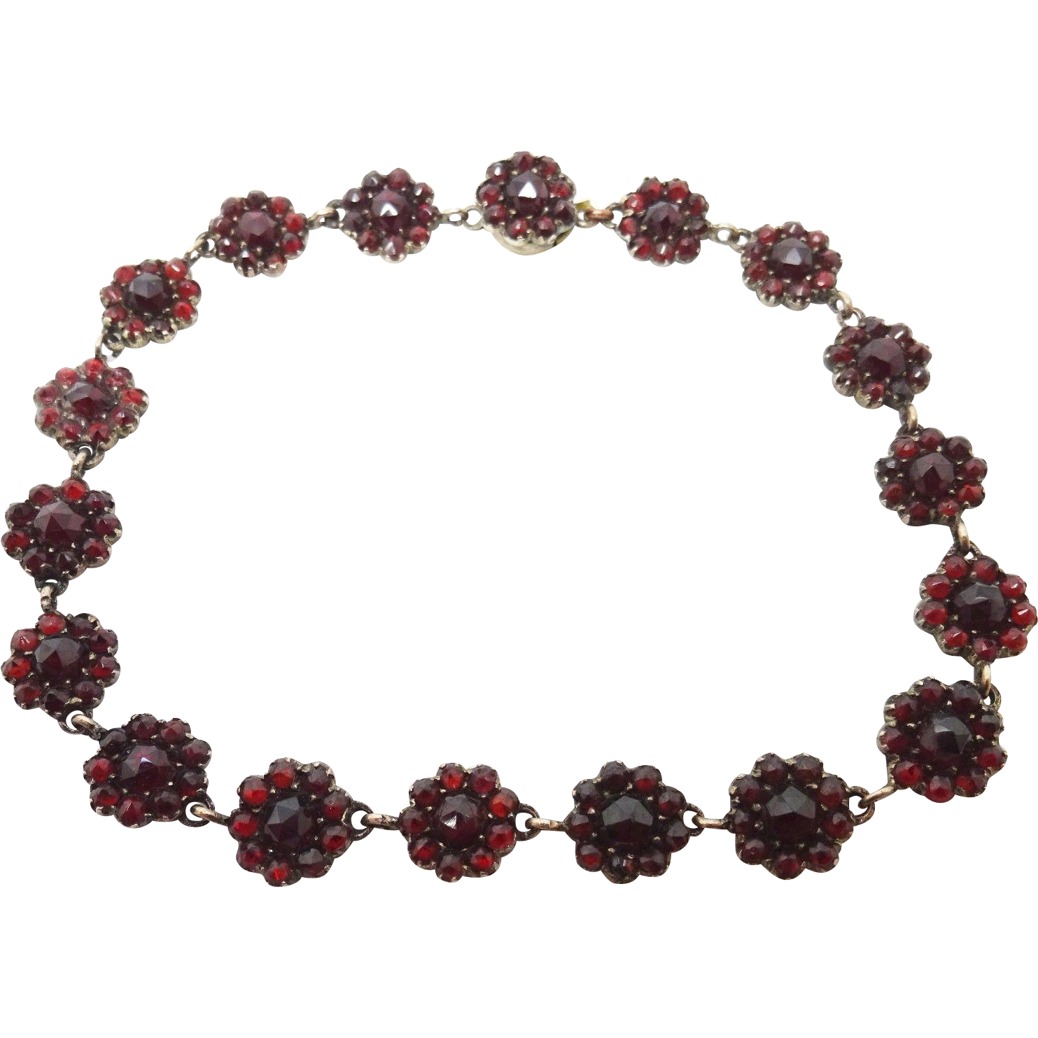 Genuine Natural Bohemian Garnet Bracelet with Rose Cut Garnets