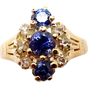 Victorian Rose Gold Blue Genuine Natural Sapphire Ring with Diamonds
