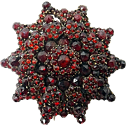 Large Genuine Natural Bohemian Sun / Starburst Garnet Brooch
