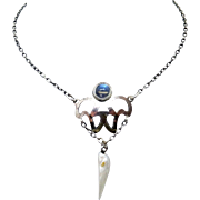 Arts & Crafts Sterling Moonstone Necklace with Pearl