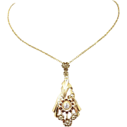 Vintage 10 Karat Gold .15 Carat Genuine Natural Diamond Flower Pendant