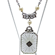 10 Karat White Gold Rock Crystal Pendant with Pearls