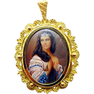 18 Karat Hand Painted Portrait Pin / Pendant