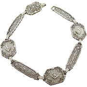 14 Karat White Gold Filigree Genuine Natural Rock Crystal Bracelet