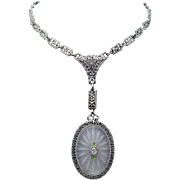 14 Karat Genuine Natural Rock Crystal Necklace with Filigree Chain