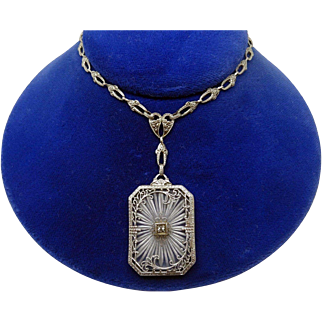 Sterling Silver Genuine Natural Camphor / Crystal Necklace with Cast Chain