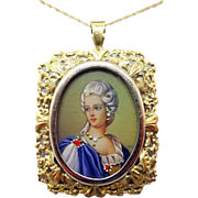 14 Karat Gold Hand Painted Portrait Pendant / Pin