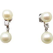 14 Karat White Gold Pearl Earrings with .26 Carat Diamonds