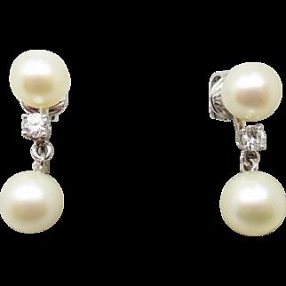 14 Karat White Gold Pearl Earrings with .26 Carat Diamonds