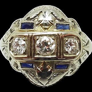 14 Karat Gold  Diamond Filigree Ring with Sapphires