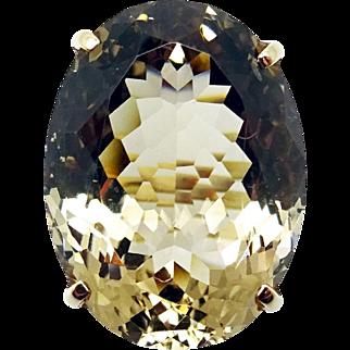 Large 14 Karat Gold Oval Genuine Natural Smoky Quartz Ring