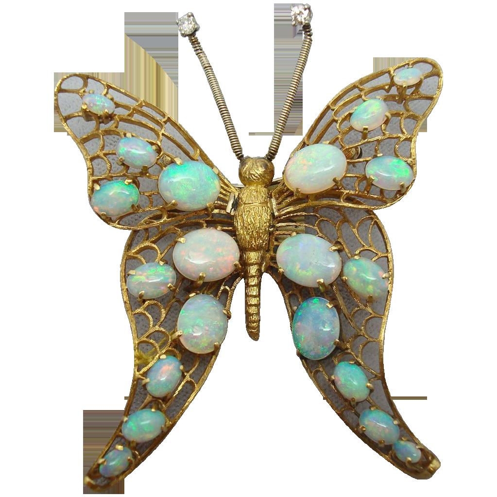14 Karat Huge Handmade Opal Butterfly Pin