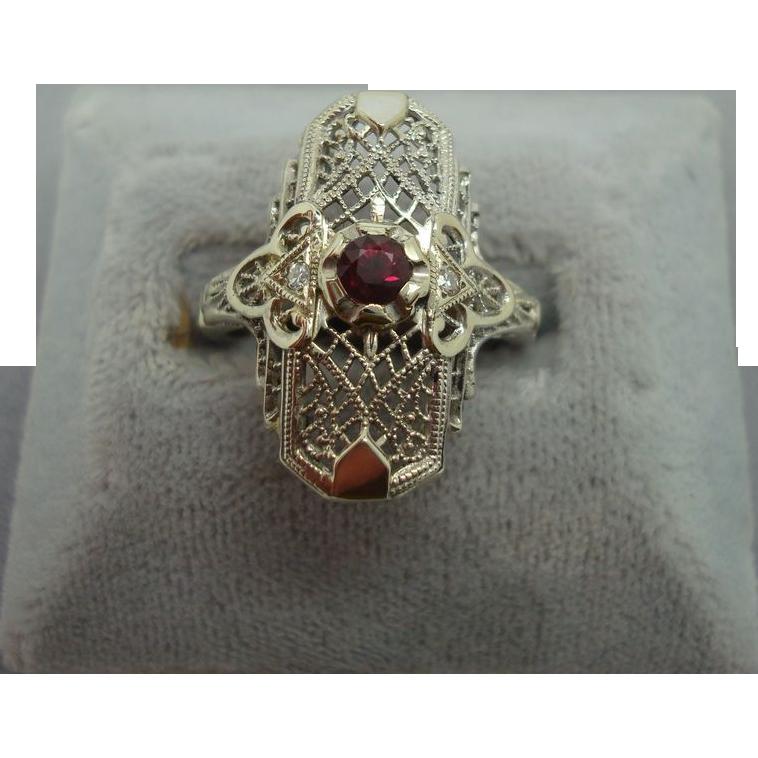 14 Karat Ruby Filigree Ring