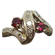 14 K Retro Ruby and Diamond Ring