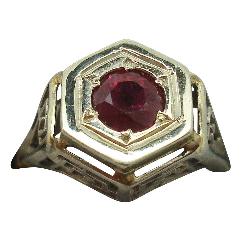 14 Karat Filigree Ring with .60 Carat Ruby