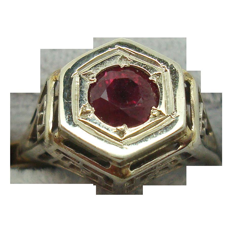 14 Karat Filigree Ring with .60 Carat Ruby