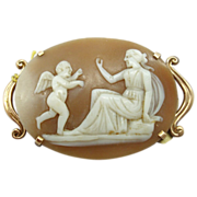 10 Karat Shell Cameo Pin with Figural Woman and Angel