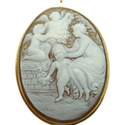 18 Karat Woman and Angels Figural Shell Cameo Pin