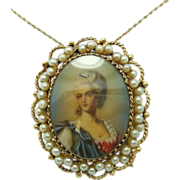 14K Pendant with Hand Painted Portrait and Cultured Pearls