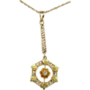 14 Karat Victorian Lavaliere Pendant with Diamond