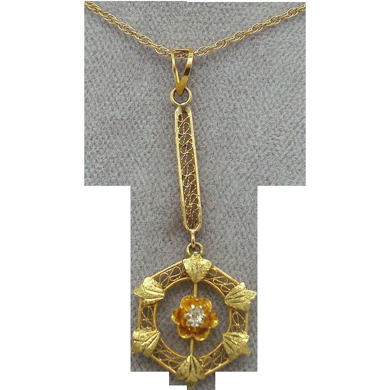 14 Karat Victorian Lavaliere Pendant with Diamond