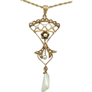 14 Karat Victorian Lavaliere Pendant with Seed Pearls