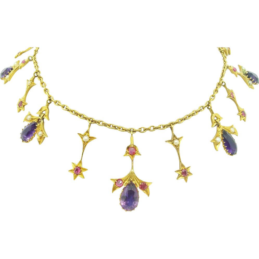 18K Amethyst Festoon Necklace w Rubies&Pearls