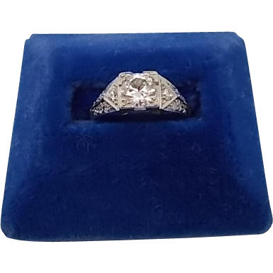 Platinum .75ct Diamond Ring with Side Diamonds