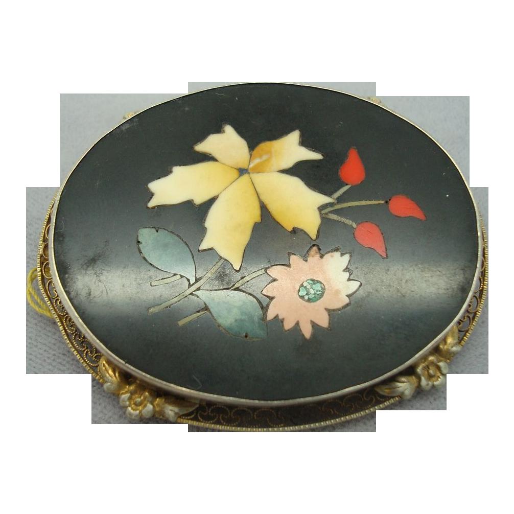 Pietra Dura Pin with Filigree Frame