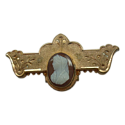 Victorian Pin with Sardonyx Stone Cameo