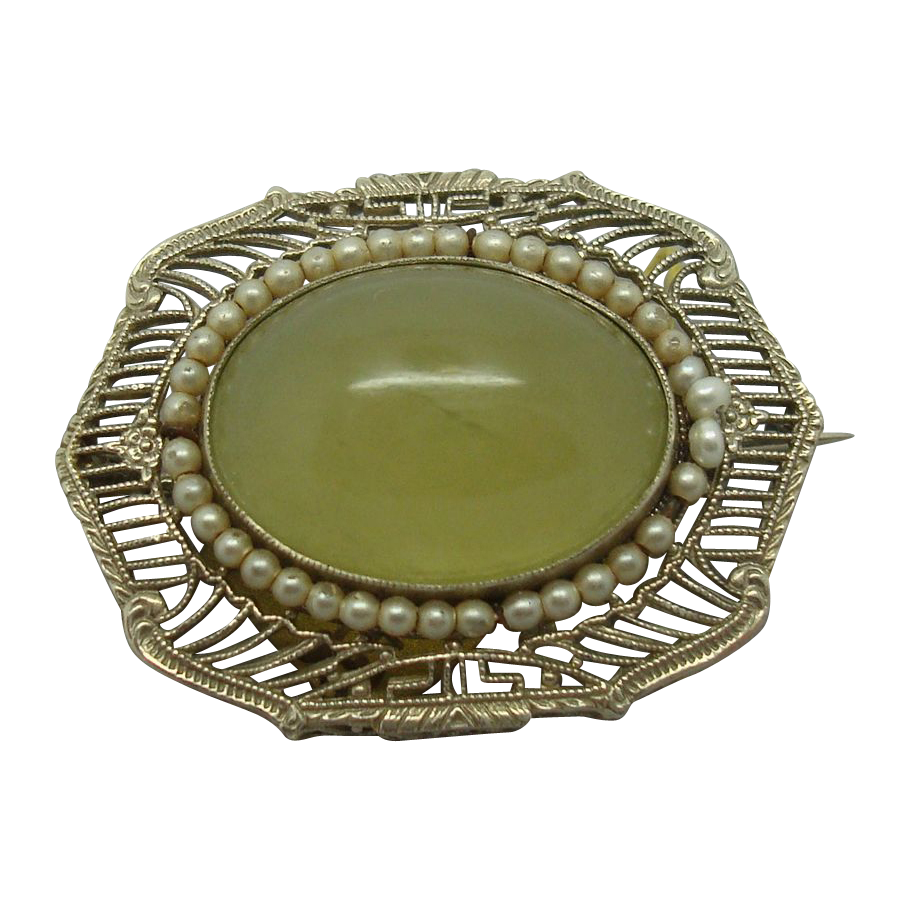 14 Karat Jade Pin with Pearls