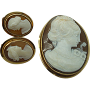 14 Karat Shell Cameo Pin and Earrings Set
