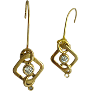 18 Karat Wire Earrings with .30 Carat Diamonds