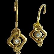18 Karat Wire Earrings with .30 Carat Diamonds