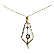 Victorian Lavaliere Necklace with Blue Sapphire and Pearl