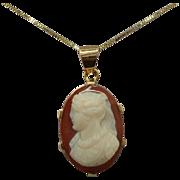14 Karat Stone Cameo Pendant